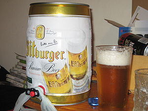 A 5 litre mini keg of Bitburger Premium Beer (...