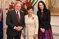 Ardern with Deputy Prime Minister Winston Peters and Governor-General Dame Patsy Reddy at the swearing-in of the new Cabinet on 26 October 2017