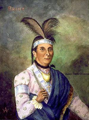 Watercolor portrait of Joseph Brant (Thayendan...