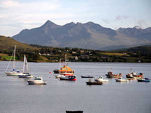 English: The North Cuillin ridge from Portree.
