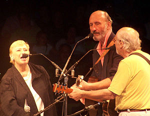 Peter, Paul and Mary onstage at the Westbury M...
