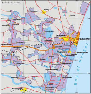 Map of Pondicherry Region, Union Territory of ...