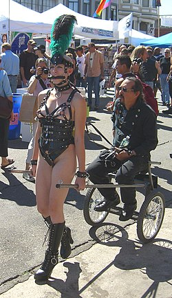 Ponygirl Ivy pulling the cart Petplay at the Folsom Street Fair 2005