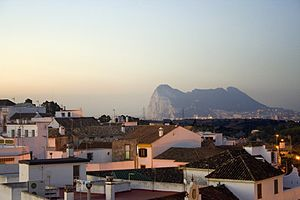 View of San Roque at dusk showing Gibraltar in...