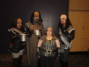 Fans dressed as Klingons in a Star Trek Conven...