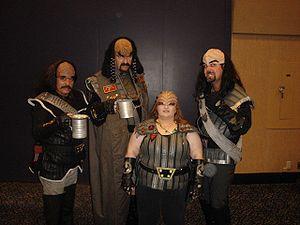 Fans dressed as Klingons in a Star Trek Conven...