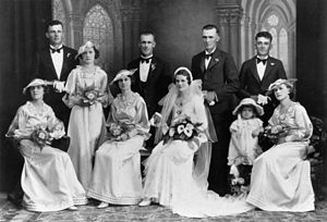 Portrait of a wedding party, 1930-1940. The br...