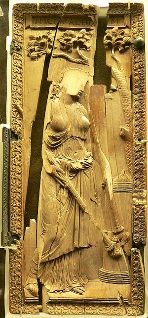 Ivory diptych of a priestess of Ceres, defaced...