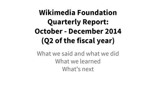 Wikimedia Foundation Quarterly Report, October-December