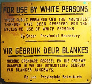 """For use by white persons"" – sign from the apa..."