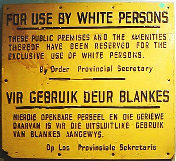 """""""For use by white persons"""" – sign from the apa..."""