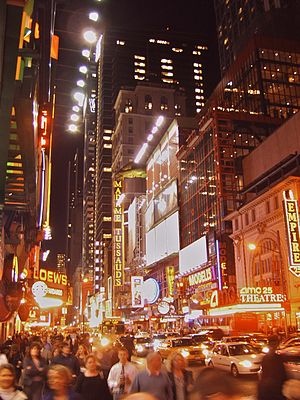 Broadway and Times Square in the evening.
