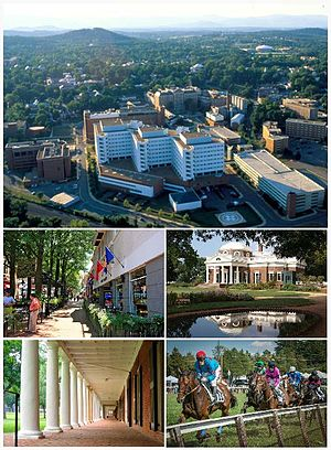 Clockwise From Top The Charlottesville Skyline With The University Of Virginia Health System In The