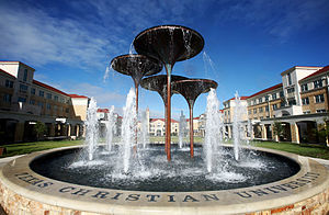 English: TCU's Frog Fountain located in the Ca...