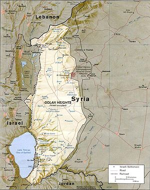 CIA map of the Golan Height showing Israeli se...