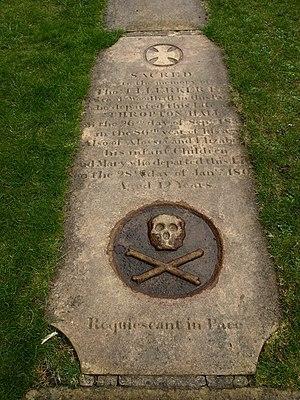 English: Grave stone, Low Alwinton 781028