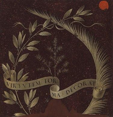 Leonardo da Vinci - Wreath of Laurel, Palm, and Juniper with a Scroll inscribed Virtutem Forum Decorat (reverse) - Google Art Project