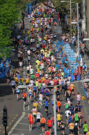 The 2011 London Marathon mass race passing thr...