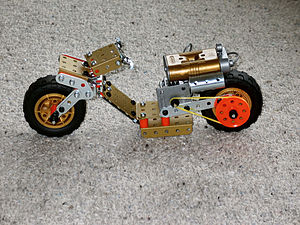Meccano model motorcycle built with the Meccan...