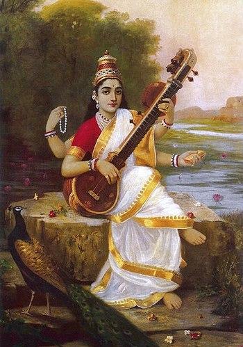 Painting of the Goddess Saraswati by Raja Ravi...