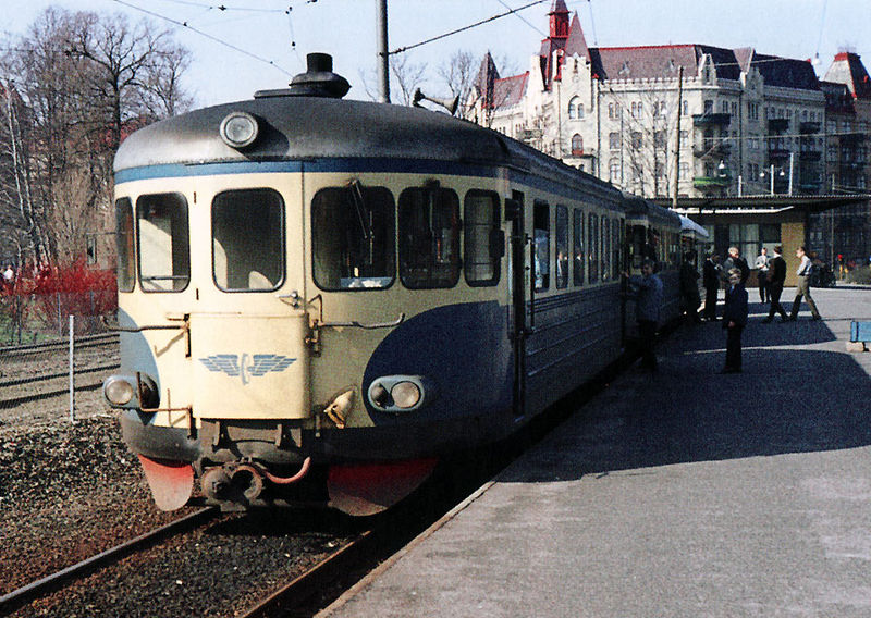 Rälsbuss vid Linnéplatsen 1965.