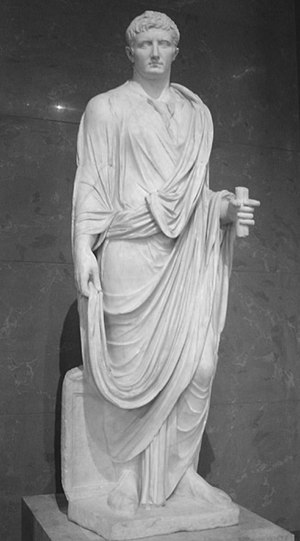 Augustus as a magistrate; the statue's marble ...