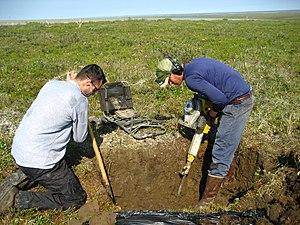 Digging in permafrost.