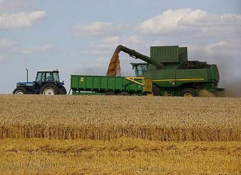 "English: Harvesting near Worlaby. ""The UK..."