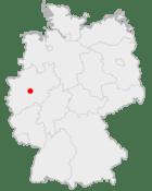 Mapa da Alemanha, posição de Hagen acentuada