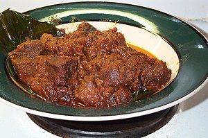 Rendang kambing, a dish cooked with coconut milk