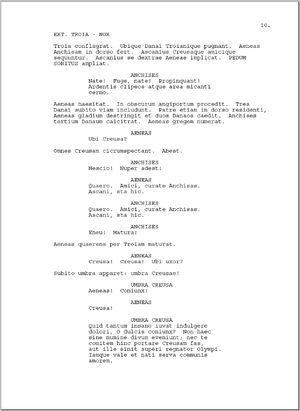 A page of a screenplay I wrote in Latin based ...