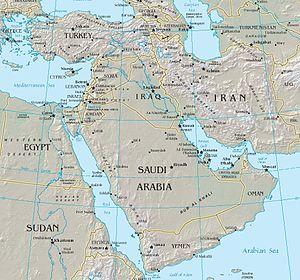 Middle East Map עברית: מפה מדינית של המזרח התי...