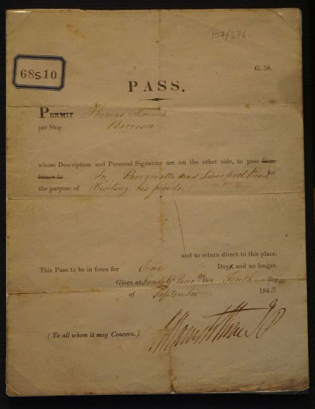 National Museum of Australia - Joy of Museums - Convict Leave Pass