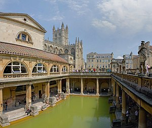 The Roman Baths (Thermae) of Bath, England. Th...