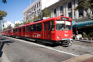 A San Diego U2 trolley in the newest color scheme.