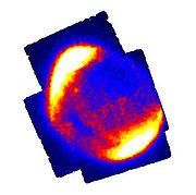 Imagen en Rayos X de la supernova SN 1006, tomada por ASCA, un satélite de la NASA para el estudio de los rayos cósmicos.