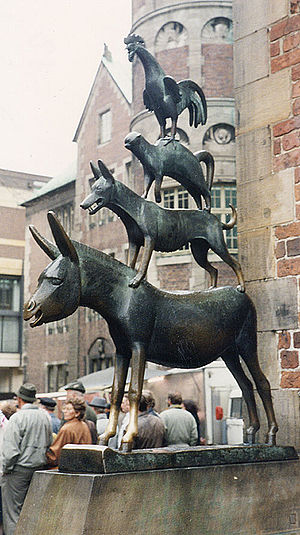 A bronze statue depicting the Bremen Town Musi...