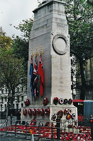 The Cenotaph at Whitehall is a memorial to mem...