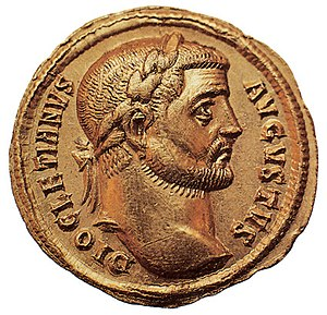 A Roman coin featuring the emperor Diocletian ...