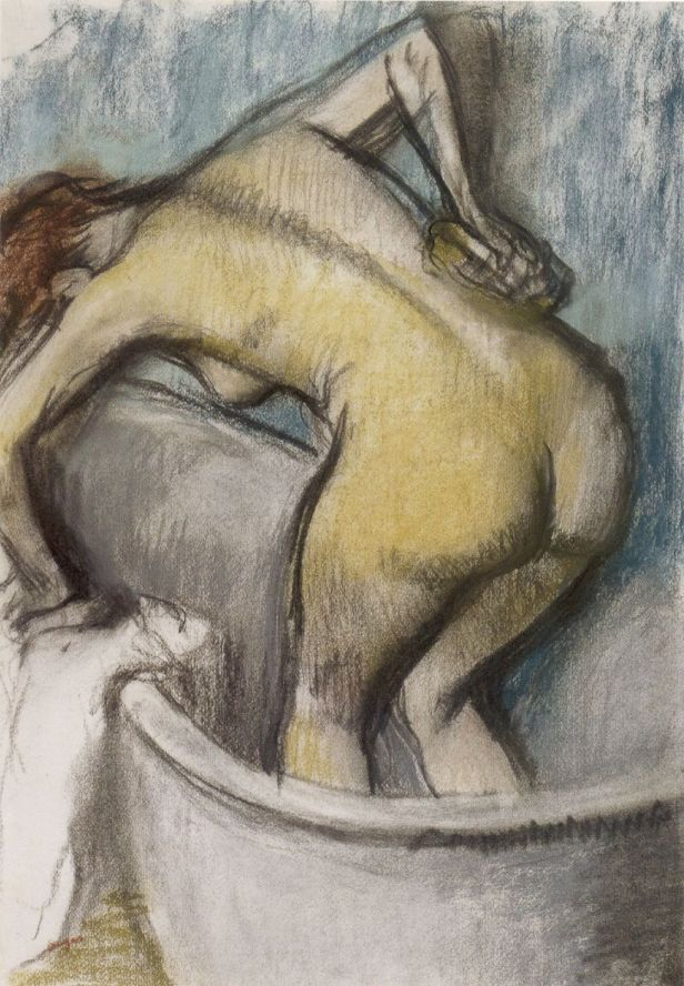 Edgar Degas (1834-1917) - 'The Bath- Woman Supporting her Back', pastel on paper, c. 1887