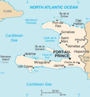 Map of Haiti with Port-au-Prince shown