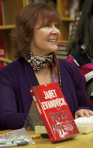 Janet Evanovich at a book signing at Borders B...