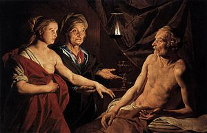 Matthias Stom - Sarah Leading Hagar to Abraham...