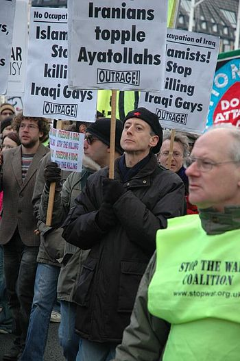 OutRage! group with Peter Tatchell marching ag...