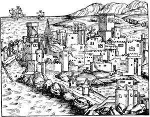 English: View of Rhodes (i. e. Rhodos, Rhodus)...