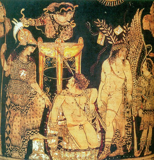 Theatre scene painted by Python, ancient Greek vase painter