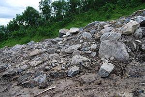 Sedimentary rock till after avalanche in Målse...