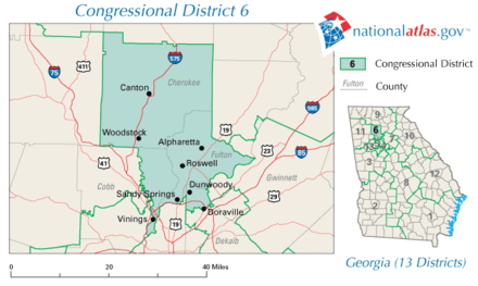 Image result for photo of map of georgia's sixth district