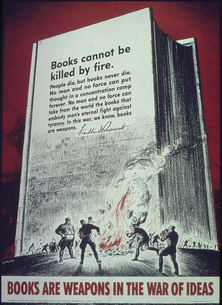 World War II propoganda poster quoting from Franklin Roosevelt's declaration that