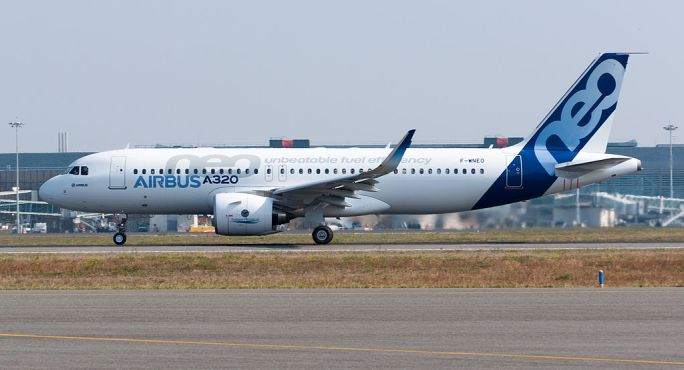 Airbus A320neo first takeoff at Toulouse Blagnac Airport 04